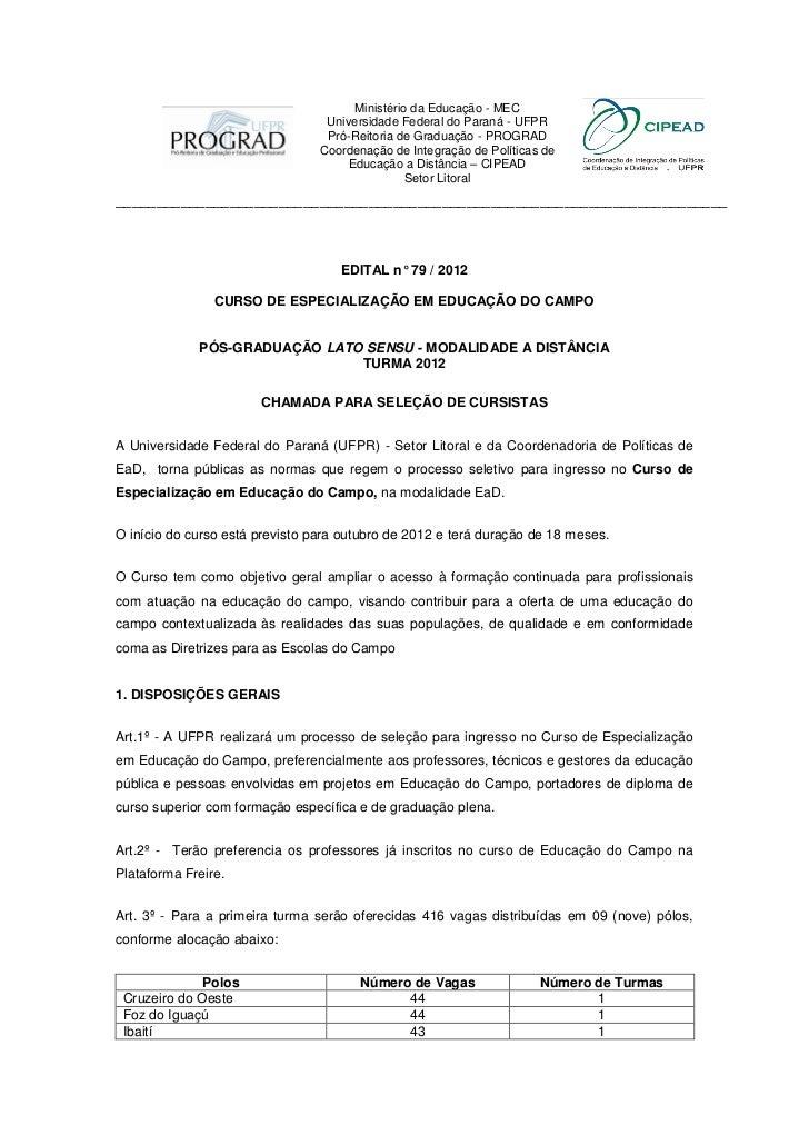 Ministério da Educação - MEC                                  Universidade Federal do Paraná - UFPR                       ...
