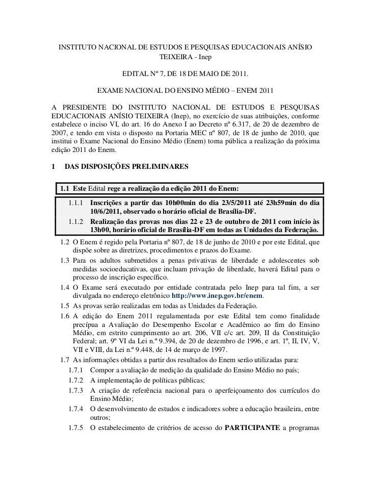 INSTITUTO NACIONAL DE ESTUDOS E PESQUISAS EDUCACIONAIS ANÍSIO                            TEIXEIRA - Inep                  ...