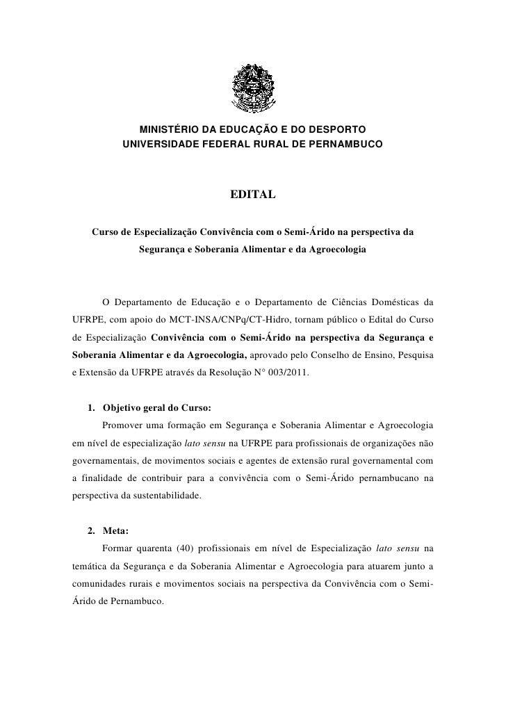 MINISTÉRIO DA EDUCAÇÃO E DO DESPORTO            UNIVERSIDADE FEDERAL RURAL DE PERNAMBUCO                                  ...