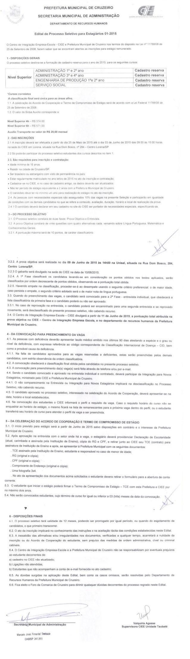 PREFEITURA MUNICIPAL DE CRUZEIRO GU  175_  SECRETARIA MUNICIPAL DE ADMINISTRAÇÃO rrufíhiii!  m. :     DEPARTAMENTO DE RECU...