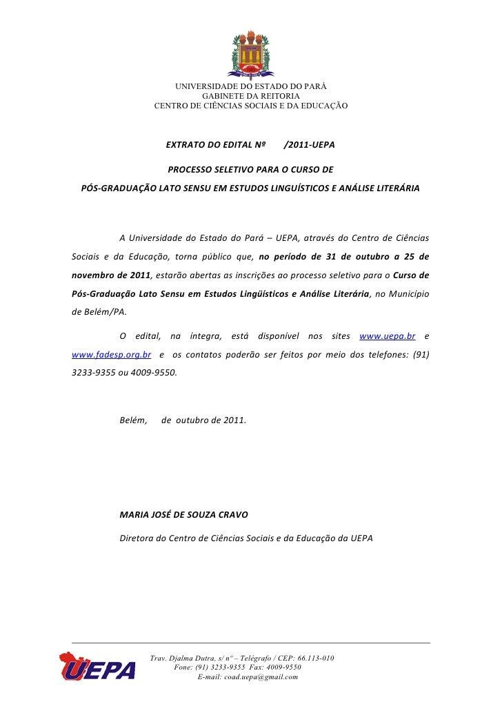 UNIVERSIDADE DO ESTADO DO PARÁ                              GABINETE DA REITORIA                     CENTRO DE CIÊNCIAS SO...