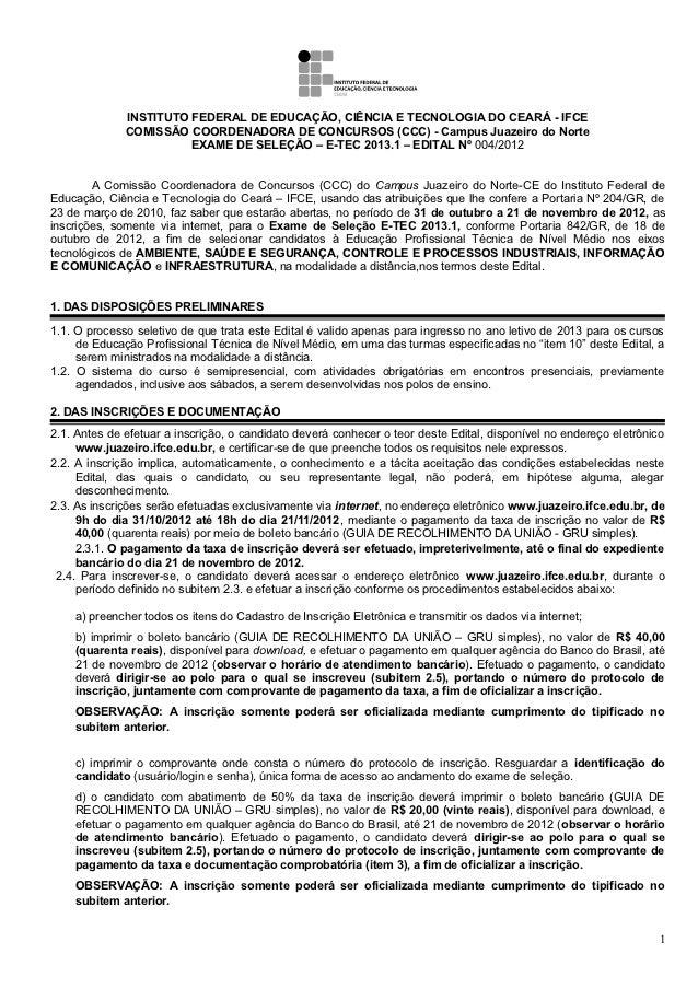 INSTITUTO FEDERAL DE EDUCAÇÃO, CIÊNCIA E TECNOLOGIA DO CEARÁ - IFCE              COMISSÃO COORDENADORA DE CONCURSOS (CCC) ...
