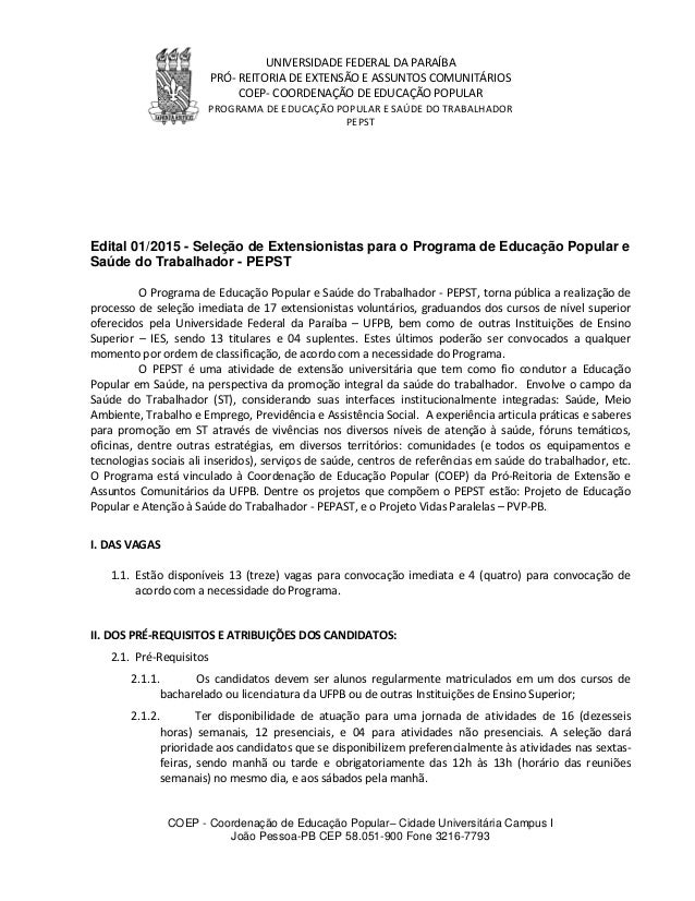 UNIVERSIDADE FEDERAL DA PARAÍBA PRÓ- REITORIA DE EXTENSÃO E ASSUNTOS COMUNITÁRIOS COEP- COORDENAÇÃO DE EDUCAÇÃO POPULAR PR...