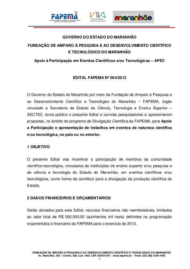GOVERNO DO ESTADO DO MARANHÃOFUNDAÇÃO DE AMPARO À PESQUISA E AO DESENVOLVIMENTO CIENTÍFICO                              E ...