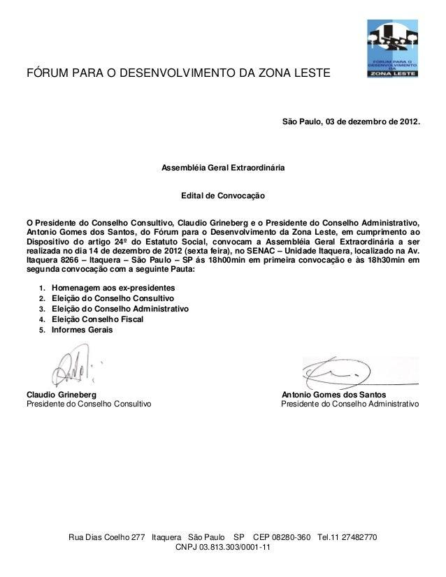FÓRUM PARA O DESENVOLVIMENTO DA ZONA LESTE                                                                  São Paulo, 03 ...