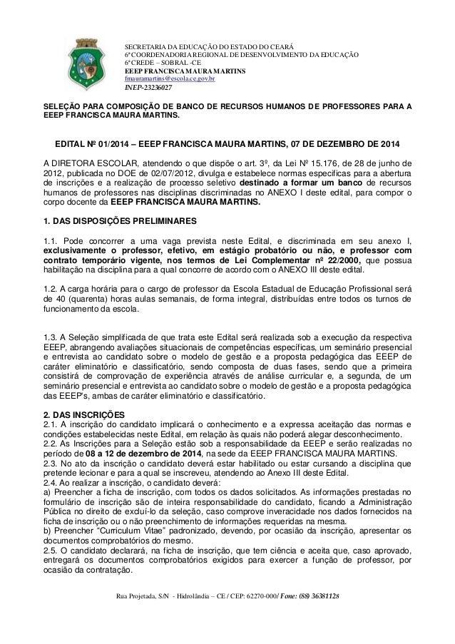 SECRETARIA DA EDUCAÇÃO DO ESTADO DO CEARÁ  6ª COORDENADORIA REGIONAL DE DESENVOLVIMENTO DA EDUCAÇÃO  6ª CREDE – SOBRAL -CE...