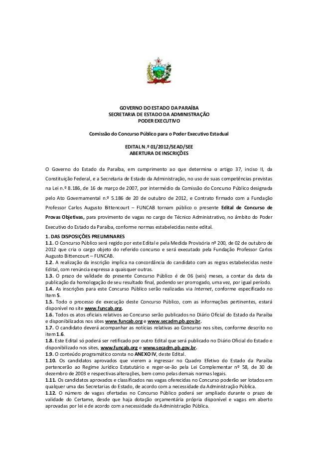 GOVERNO DO ESTADO DA PARAÍBA                             SECRETARIA DE ESTADO DA ADMINISTRAÇÃO                            ...