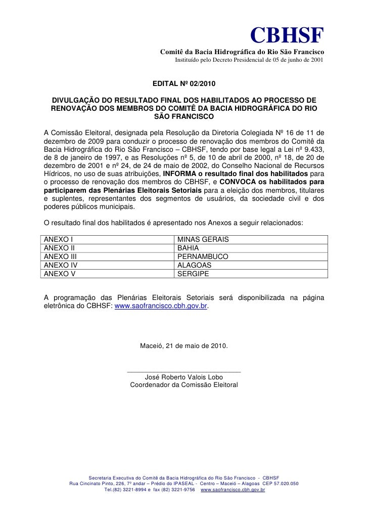 CBHSF                                              Comitê da Bacia Hidrográfica do Rio São Francisco                      ...