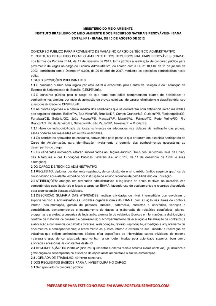 MINISTÉRIO DO MEIO AMBIENTE   INSTITUTO BRASILEIRO DO MEIO AMBIENTE E DOS RECURSOS NATURAIS RENOVÁVEIS - IBAMA            ...