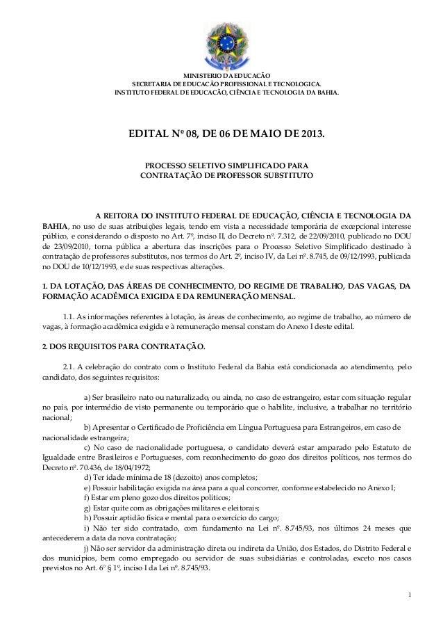 1MINISTERIO DA EDUCACÃOSECRETARIA DE EDUCACÃO PROFISSIONAL E TECNOLOGICA.INSTITUTO FEDERAL DE EDUCACÃO, CIÊNCIA E TECNOLOG...