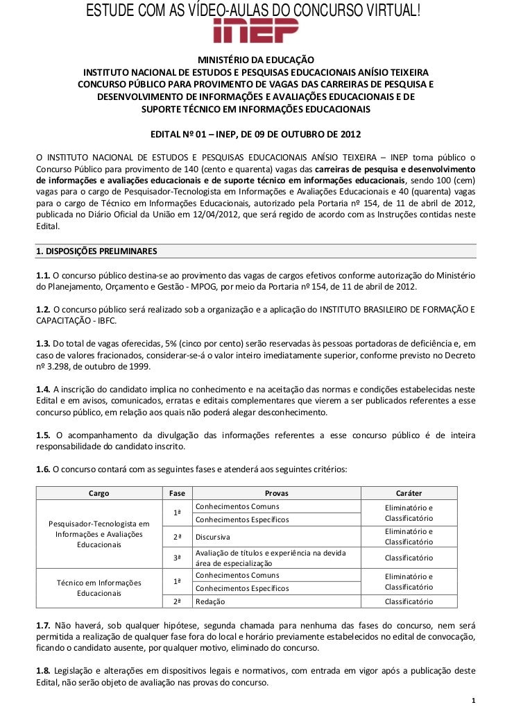 ESTUDE COM AS VÍDEO-AULAS DO CONCURSO VIRTUAL!                                  MINISTÉRIO DA EDUCAÇÃO           INSTITUTO...