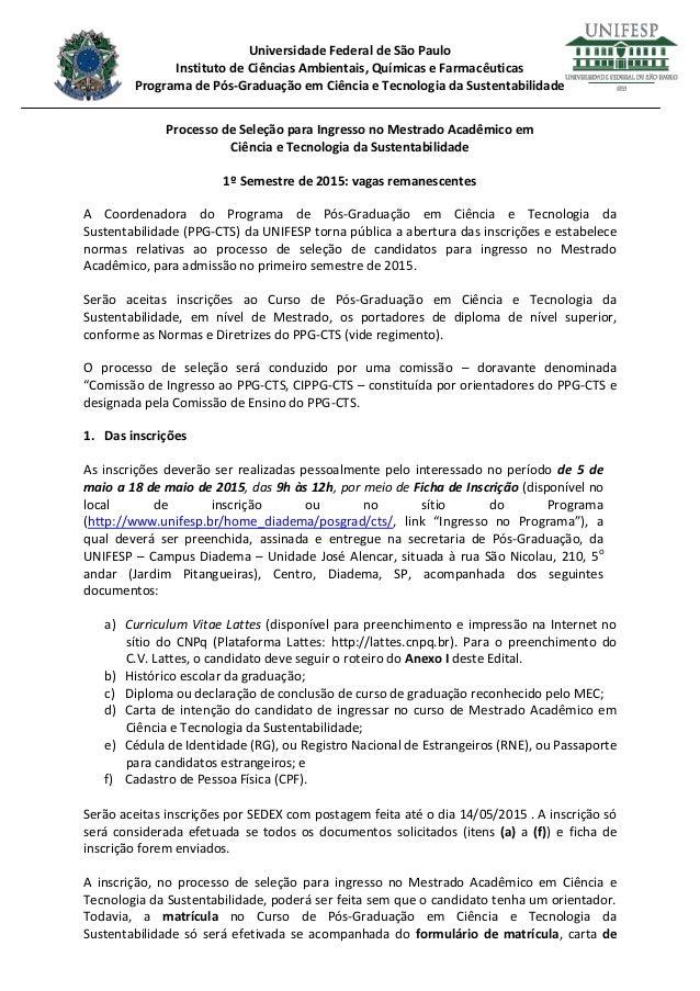 Universidade Federal de São Paulo Instituto de Ciências Ambientais, Químicas e Farmacêuticas Programa de Pós-Graduação em ...