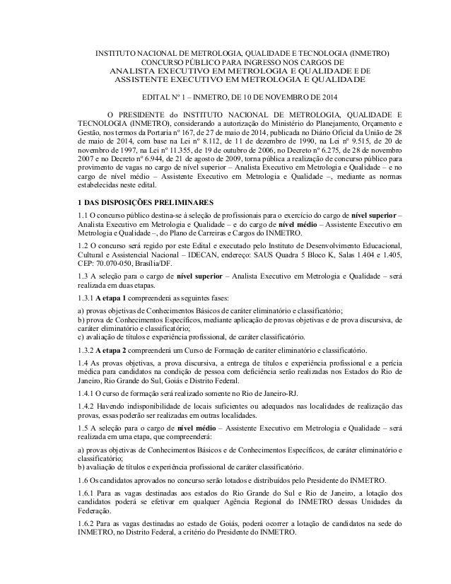 INSTITUTO NACIONAL DE METROLOGIA, QUALIDADE E TECNOLOGIA (INMETRO) CONCURSO PÚBLICO PARA INGRESSO NOS CARGOS DE ANALISTA E...