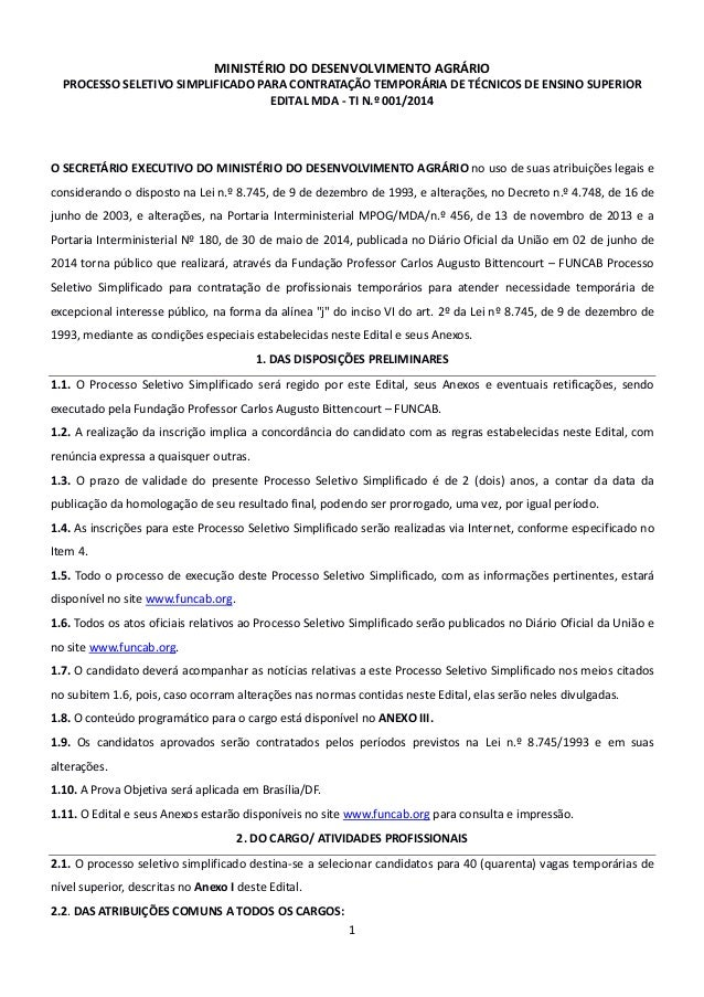MINISTÉRIO DO DESENVOLVIMENTO AGRÁRIO PROCESSO SELETIVO SIMPLIFICADO PARA CONTRATAÇÃO TEMPORÁRIA DE TÉCNICOS DE ENSINO SUP...