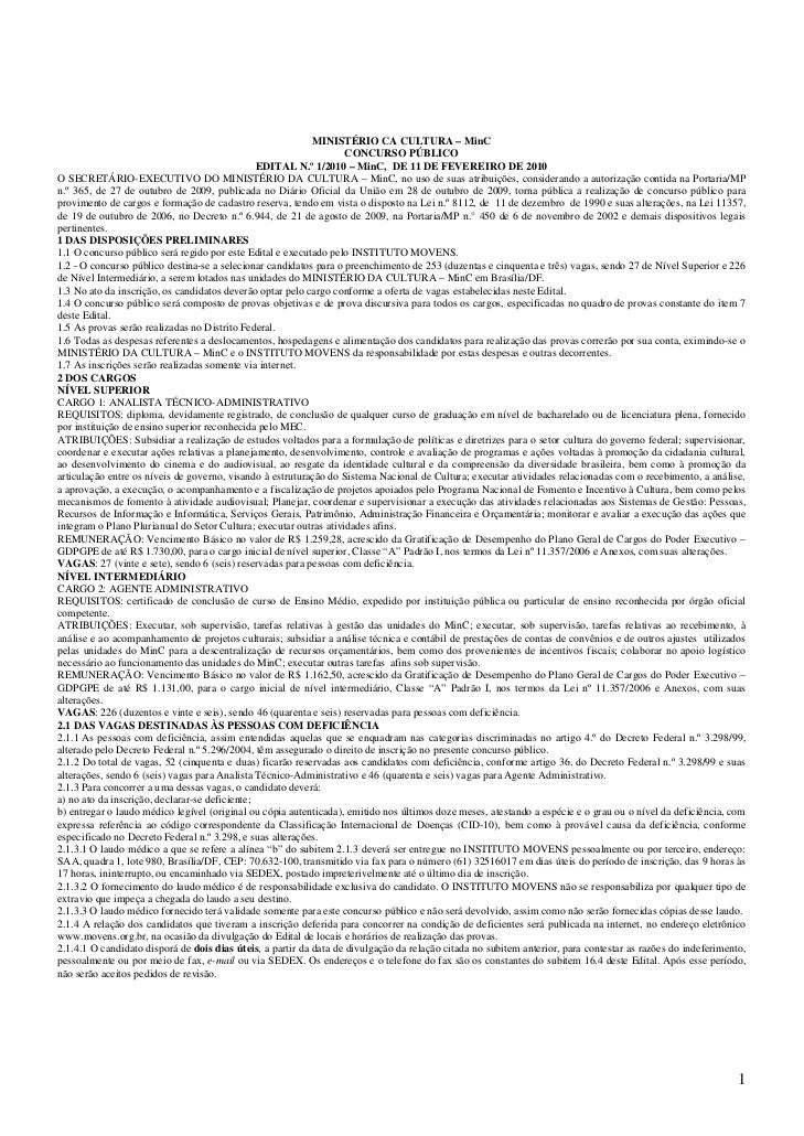 MINISTÉRIO CA CULTURA – MinC                                                                    CONCURSO PÚBLICO          ...