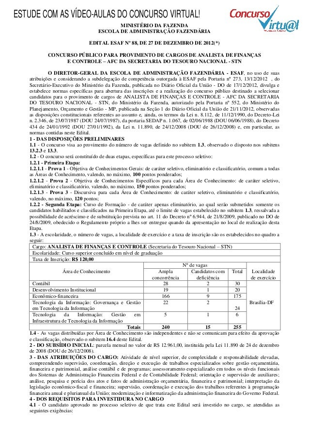 ESTUDE COM AS VÍDEO-AULAS DO CONCURSO VIRTUAL!                                           MINISTÉRIO DA FAZENDA            ...