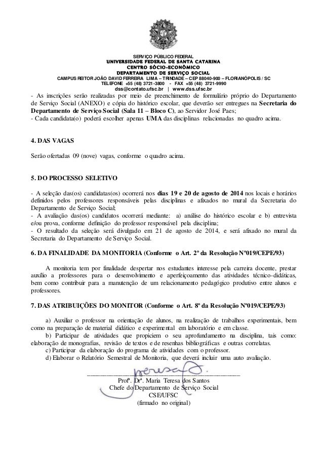 Edital Monitoria Servico Social 2014 2