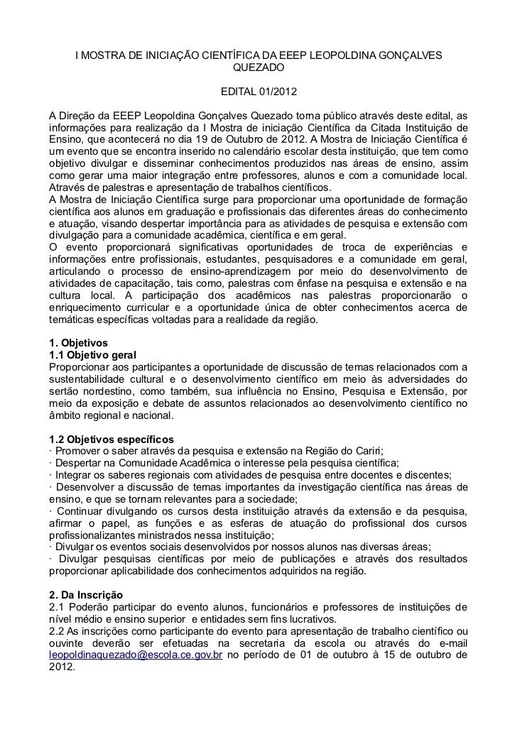 I MOSTRA DE INICIAÇÃO CIENTÍFICA DA EEEP LEOPOLDINA GONÇALVES                                QUEZADO                      ...