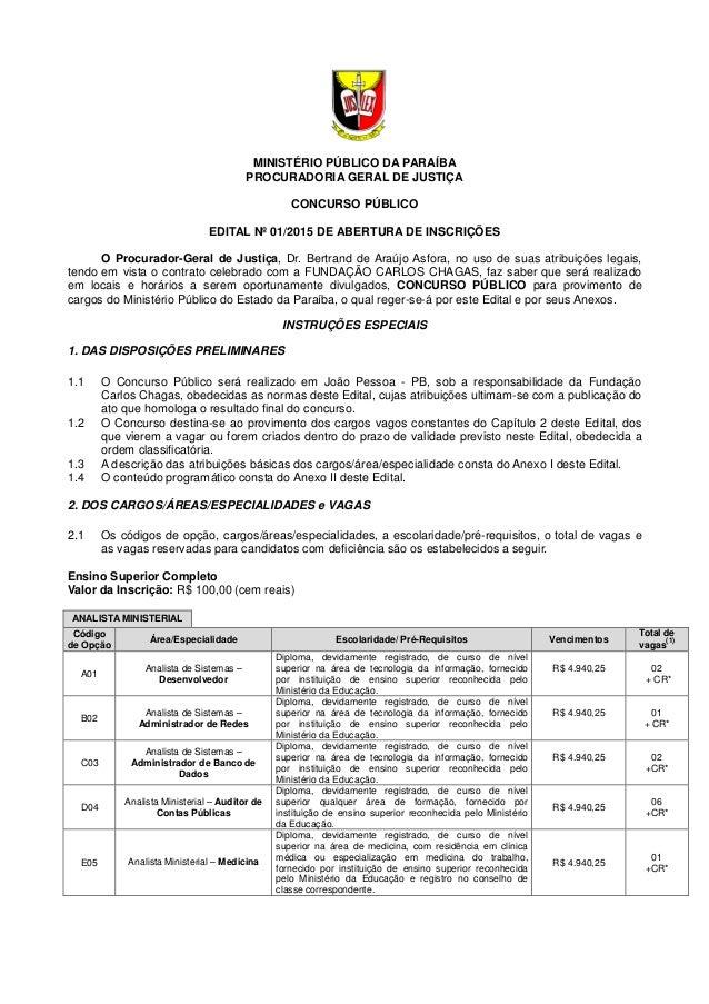 MINISTÉRIO PÚBLICO DA PARAÍBA PROCURADORIA GERAL DE JUSTIÇA CONCURSO PÚBLICO EDITAL Nº 01/2015 DE ABERTURA DE INSCRIÇÕES O...