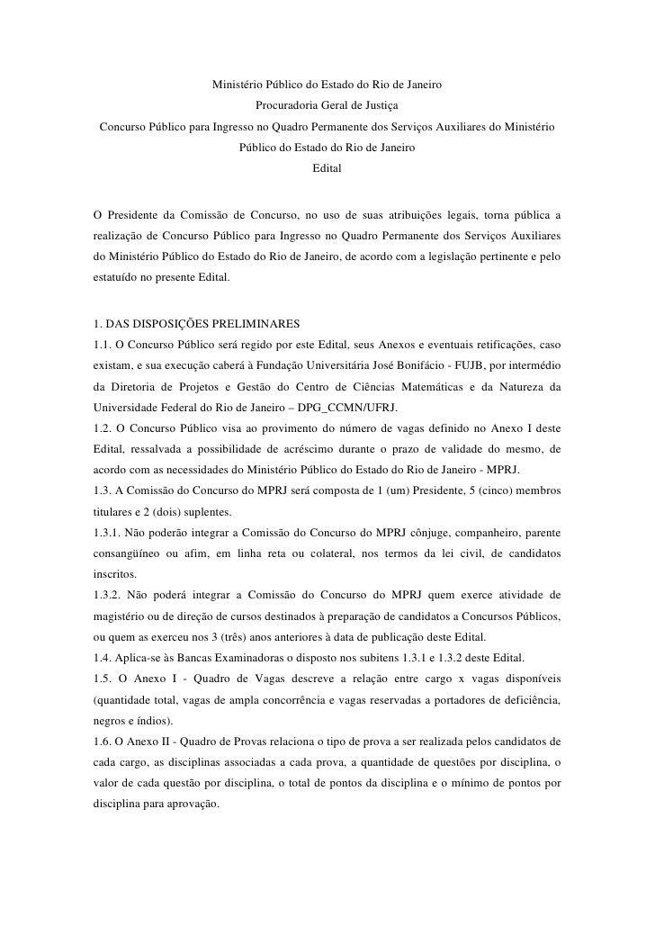 Ministério Público do Estado do Rio de Janeiro                                     Procuradoria Geral de Justiça Concurso ...