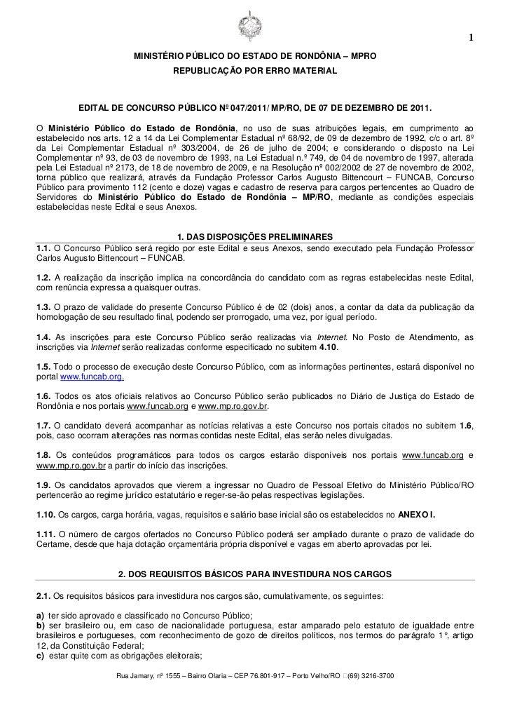 1                         MINISTÉRIO PÚBLICO DO ESTADO DE RONDÔNIA – MPRO                                     REPUBLICAÇÃO...