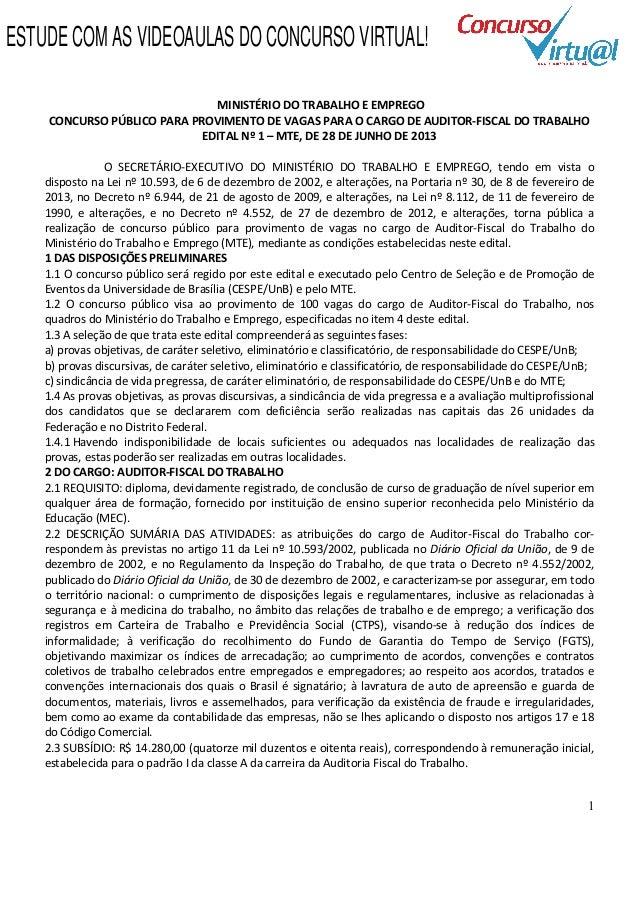 Edital MTE 2013 - Auditor Fiscal do Trabalho