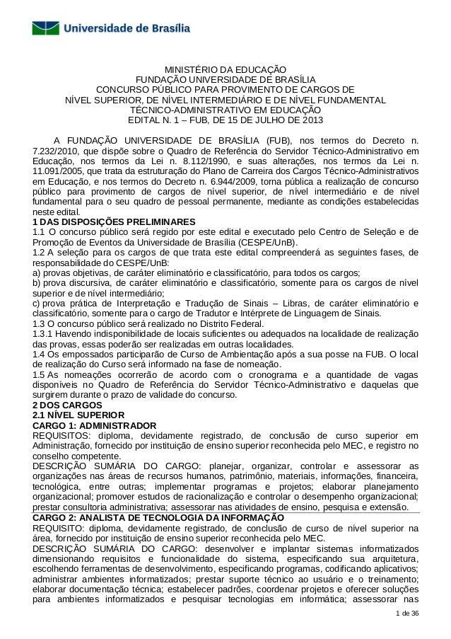 1 de 36 MINISTÉRIO DA EDUCAÇÃO FUNDAÇÃO UNIVERSIDADE DE BRASÍLIA CONCURSO PÚBLICO PARA PROVIMENTO DE CARGOS DE NÍVEL SUPER...