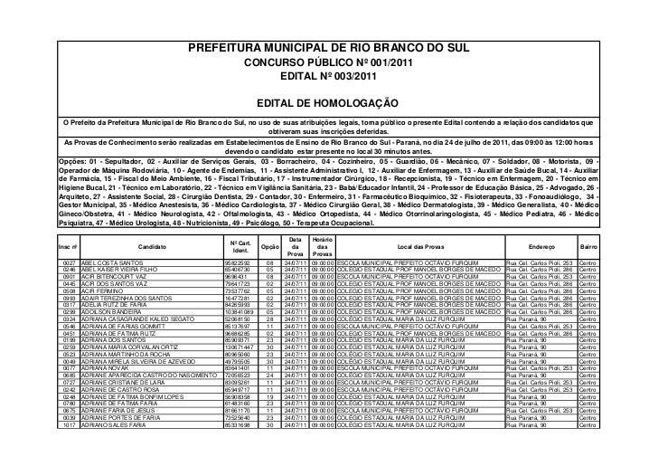 PREFEITURA MUNICIPAL DE RIO BRANCO DO SUL                                                          CONCURSO PÚBLICO Nº 001...
