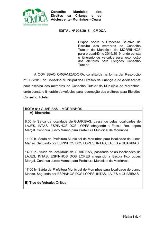 Conselho Municipal dos Direitos da Criança e do Adolescente- Morrinhos - Ceará EDITAL Nº 008/2015 – CMDCA Dispõe sobre o P...