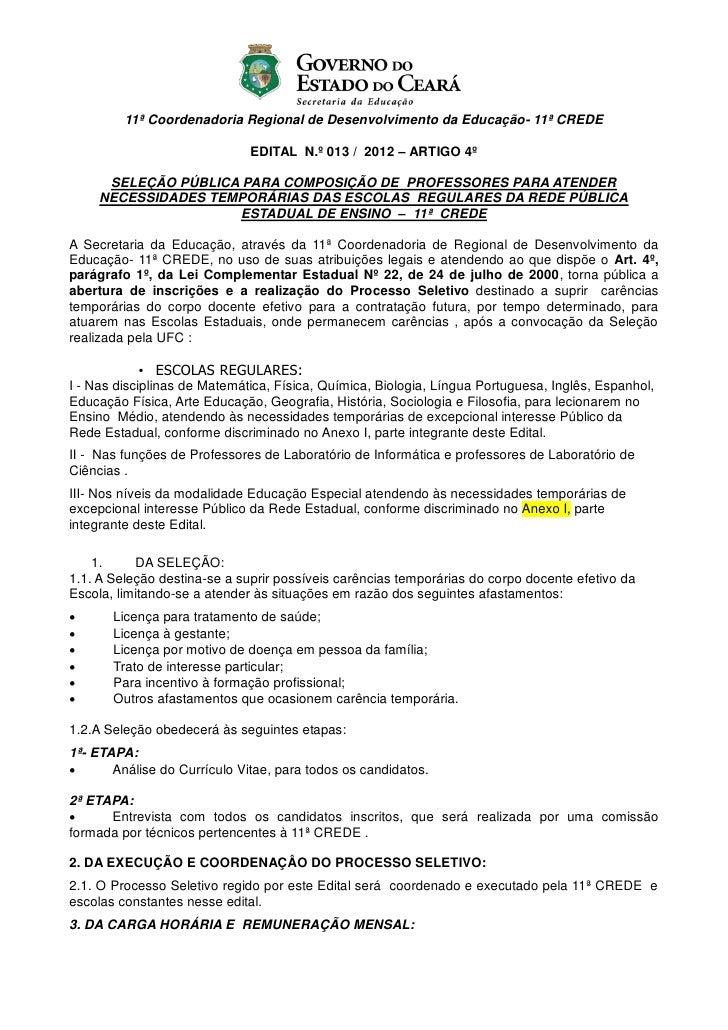 11ª Coordenadoria Regional de Desenvolvimento da Educação- 11ª CREDE                              EDITAL N.º 013 / 2012 – ...
