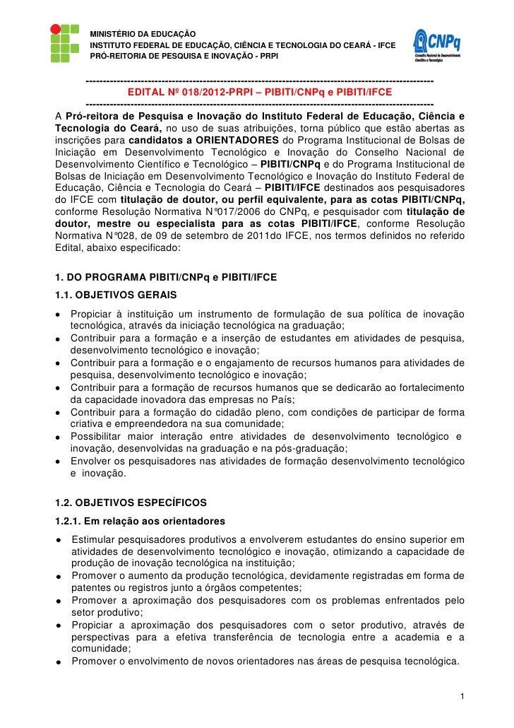 MINISTÉRIO DA EDUCAÇÃO         INSTITUTO FEDERAL DE EDUCAÇÃO, CIÊNCIA E TECNOLOGIA DO CEARÁ - IFCE         PRÓ-REITORIA DE...