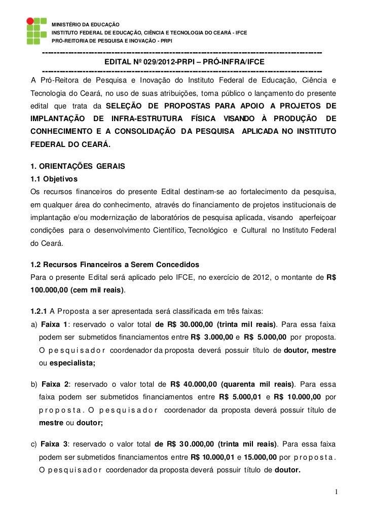 MINISTÉRIO DA EDUCAÇÃO      INSTITUTO FEDERAL DE EDUCAÇÃO, CIÊNCIA E TECNOLOGIA DO CEARÁ - IFCE      PRÓ-REITORIA DE PESQU...