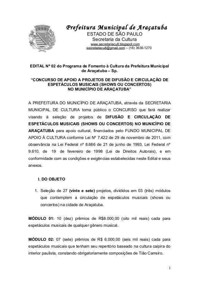P                   Prefeitura Municipal de Araçatuba                                 ESTADO DE SÃO PAULO                 ...