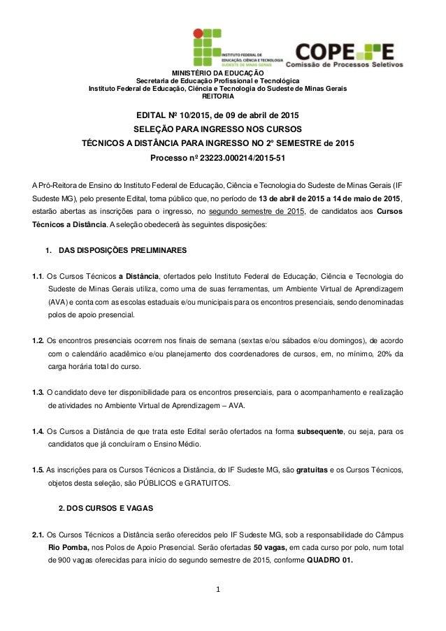 MINISTÉRIO DA EDUCAÇÃO Secretaria de Educação Profissional e Tecnológica Instituto Federal de Educação, Ciência e Tecnolog...
