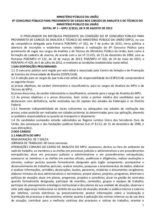 Edital nº 1 – mpu 22013, de 9 de agosto de 2013