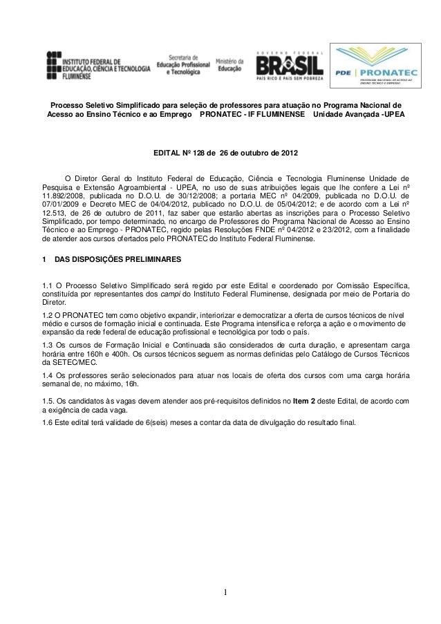 Processo Seletivo Simplificado para seleção de professores para atuação no Programa Nacional de    Acesso ao Ensino Técnic...