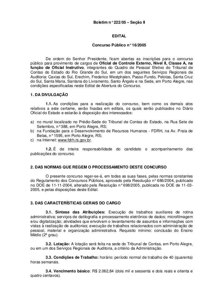Boletim n° 222/05 – Seção II                                             EDITAL                                  Concurso ...