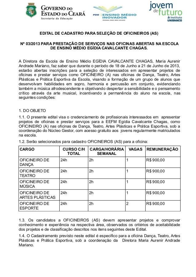 EDITAL DE CADASTRO PARA SELEÇÃO DE OFICINEIROS (AS)Nº 03/2013 PARA PRESTAÇÃO DE SERVIÇOS NAS OFICINAS ABERTAS NA ESCOLADE ...