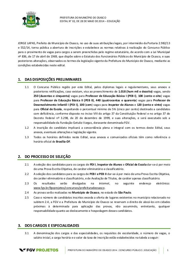 PREFEITURA DO MUNICÍPIO DE OSASCO EDITAL N° 02, DE 28 DE MAIO DE 2014 – EDUCAÇÃO PREFEITURA DO MUNICÍPIO DE OSASCO 2014 | ...
