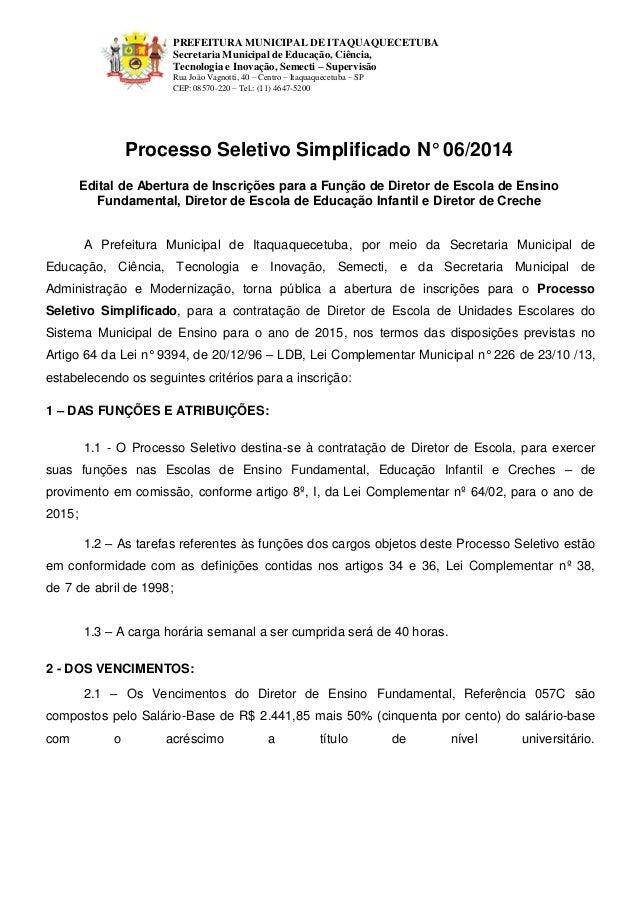 PREFEITURA MUNICIPAL DE ITAQUAQUECETUBA  Secretaria Municipal de Educação, Ciência, Tecnologia e Inovação, Semecti – Super...