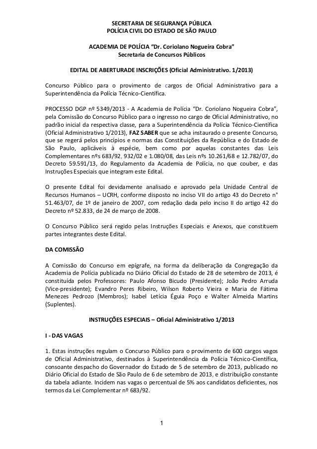 """SECRETARIA DE SEGURANÇA PÚBLICA POLÍCIA CIVIL DO ESTADO DE SÃO PAULO ACADEMIA DE POLÍCIA """"Dr. Coriolano Nogueira Cobra"""" Se..."""
