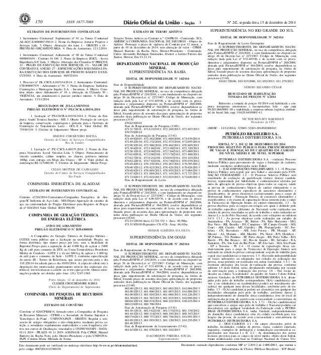 150 ISSN 1677-7069 Nº 242, segunda-feira, 15 de dezembro de 2014  Este documento pode ser verificado no endereço eletrônic...