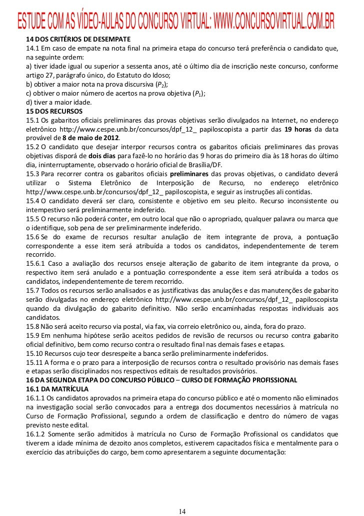 Edital concurso Papiloscopista PF 2012