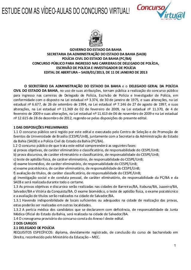 ESTUDE COM AS VÍDEO-AULAS DO CONCURSO VIRTUAL!                                    GOVERNO DO ESTADO DA BAHIA              ...