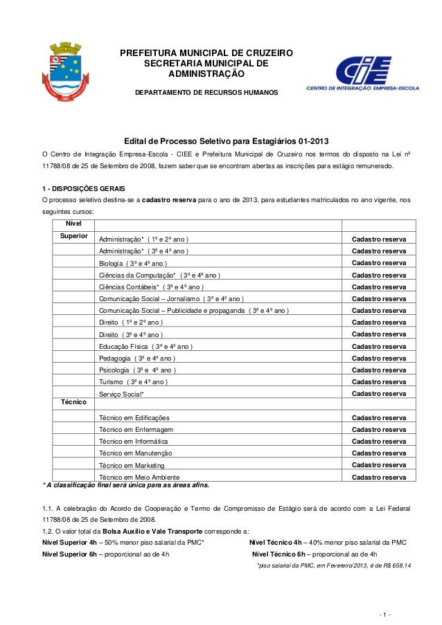 PREFEITURA MUNICIPAL DE CRUZEIRO                               SECRETARIA MUNICIPAL DE                                    ...