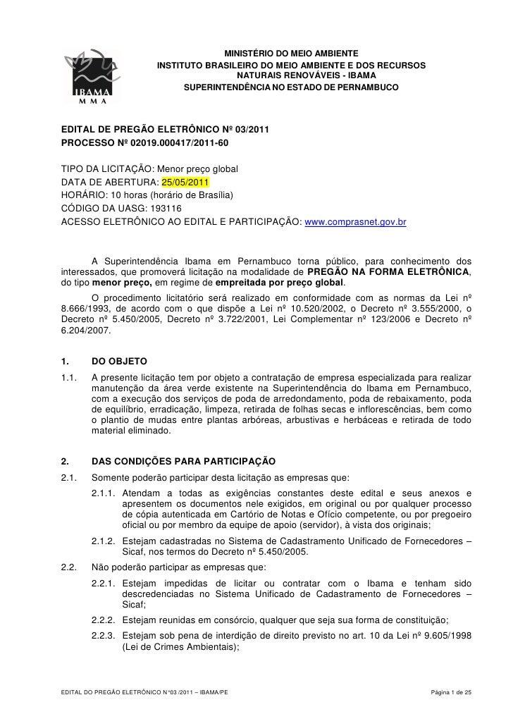 MINISTÉRIO DO MEIO AMBIENTE                            INSTITUTO BRASILEIRO DO MEIO AMBIENTE E DOS RECURSOS               ...