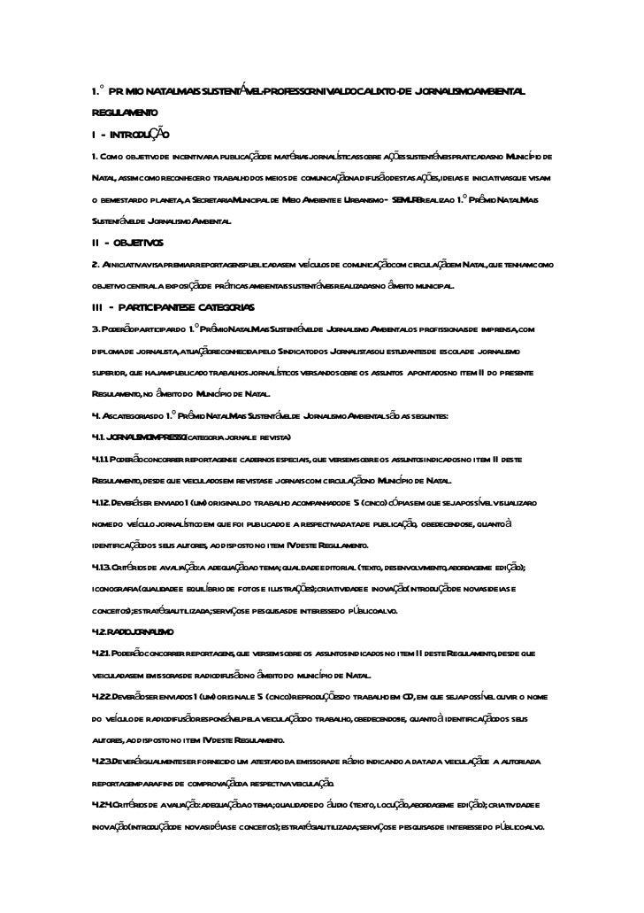 1.° PR MIO NATALMAISSUSTENTÁ EL-PROFESSORNIVALDOCALIXTO-DE JORNALISMOAMBIENTAL                            VREGULAMENTOI - ...