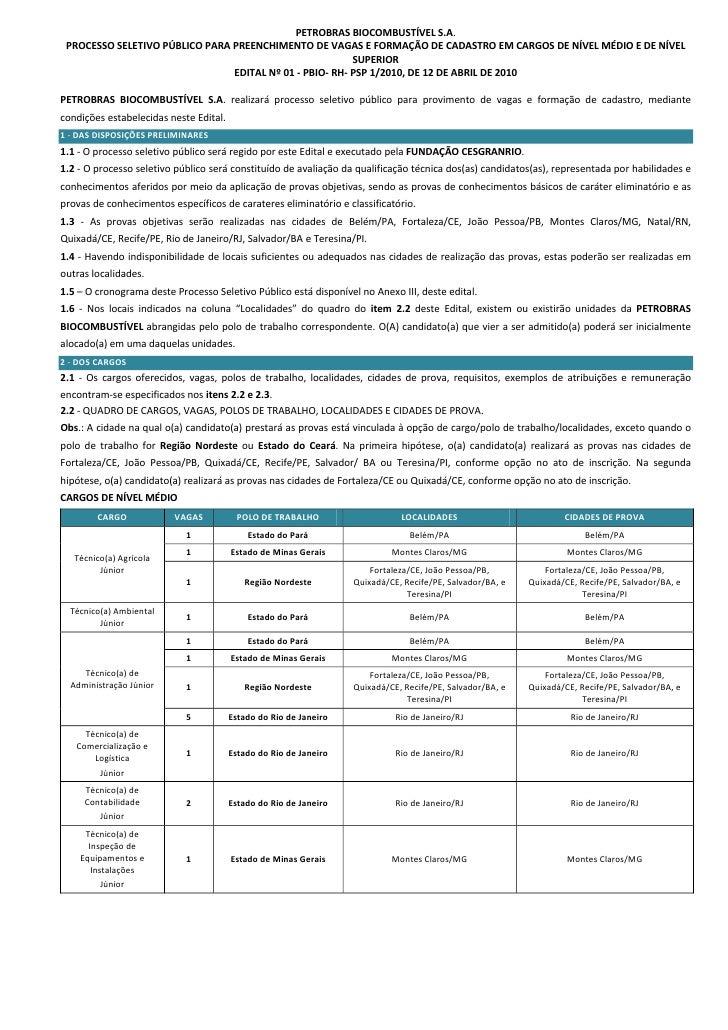 PETROBRASBIOCOMBUSTÍVELS.A.     PROCESSOSELETIVOPÚBLICOPARAPREENCHIMENTODEVAGASEFORMAÇÃODECADASTROEMCARGOS...