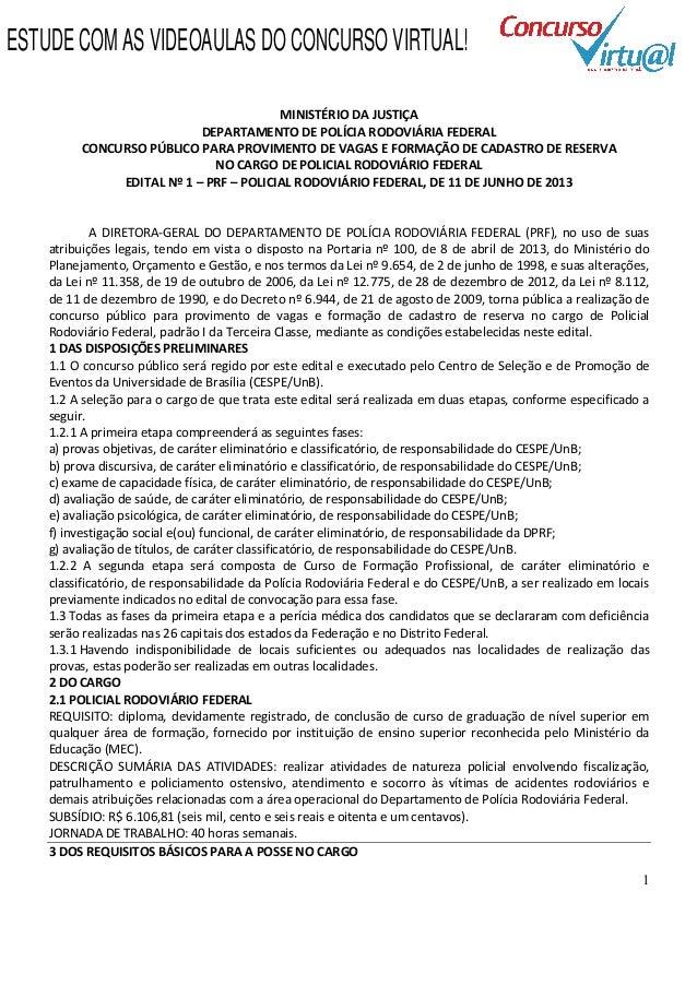 Edital concurso Polícia Rodoviária Federal 2013 (PRF)