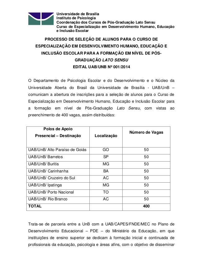 Universidade de Brasília Instituto de Psicologia Coordenação dos Cursos de Pós-Graduação Lato Sensu Curso de Especializaçã...